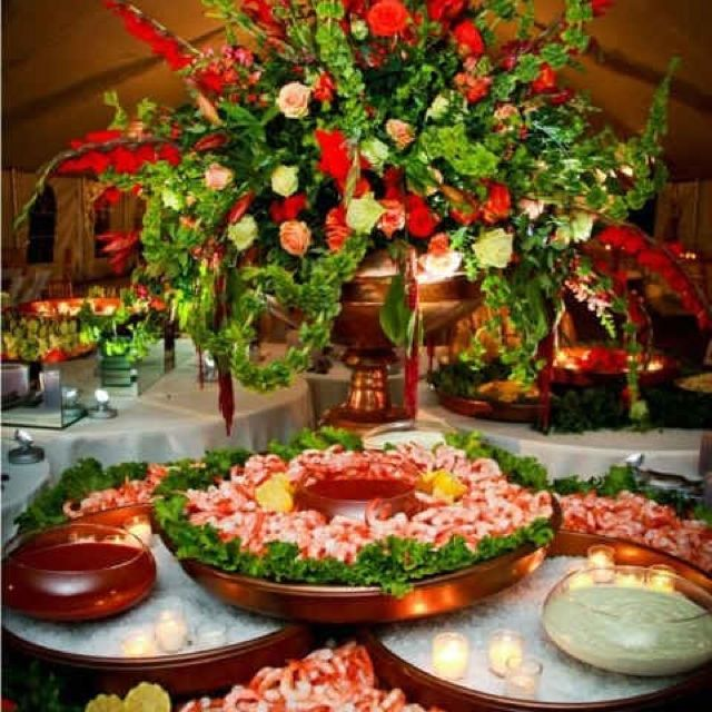 Appetizer Only Wedding Reception: Food Display At Wedding Reception