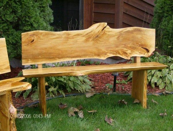 John A Eiselein Bass Wood Slab Bench Artwanted Com Wood Slab Rustic Wood Bench Rustic Garden Furniture