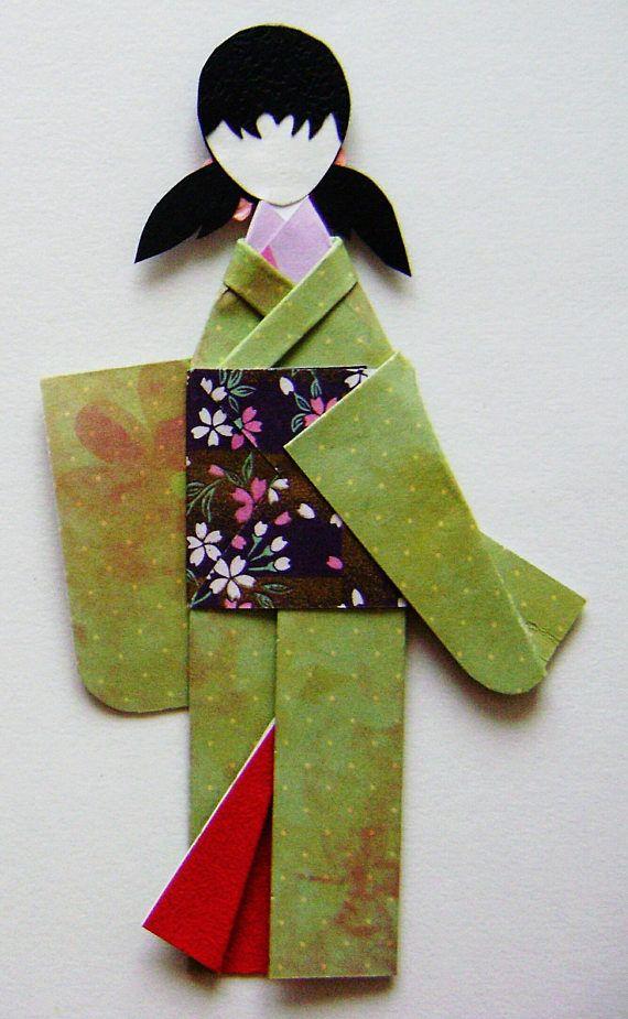 Green Floral Garden Japanese Origami Kimono Doll Bookmark