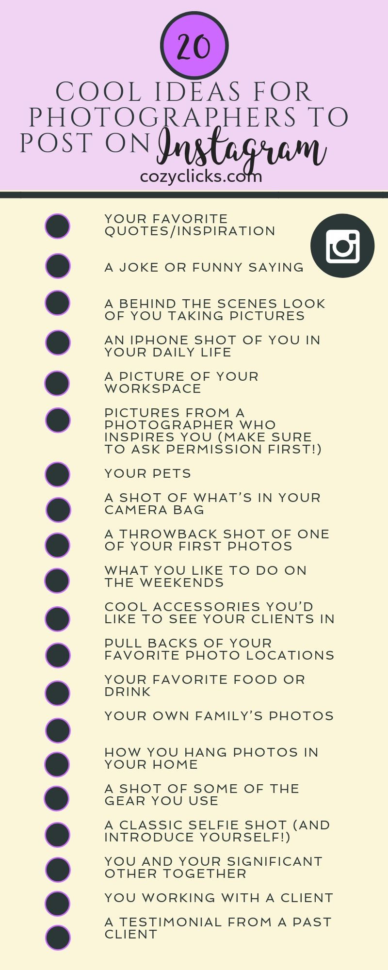 20 Cool Ideas For Photographers To Post On Instagram Besides Their Own Work Instagram Business Instagram Photographer Website