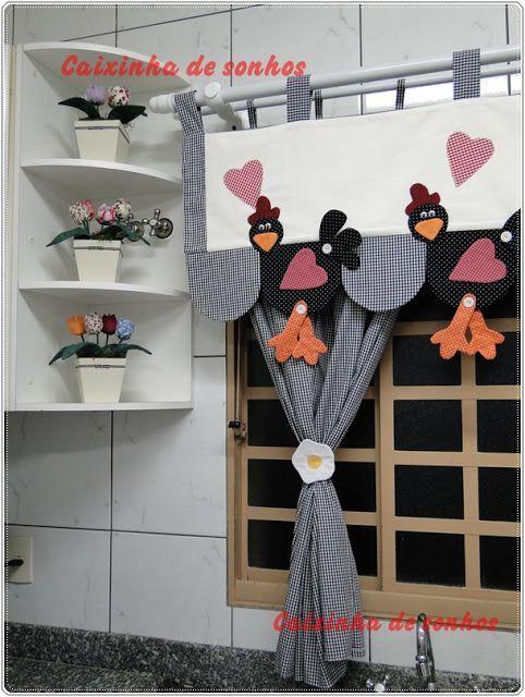 Aulas de patchwork+Bandô de galinhas: | cortinas | Pinterest ...