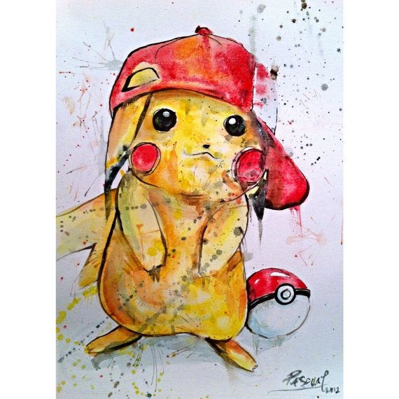 Pikachu Pokemon Video Game Character Watercolor 11 x 14. Bought for Jaxen's room!