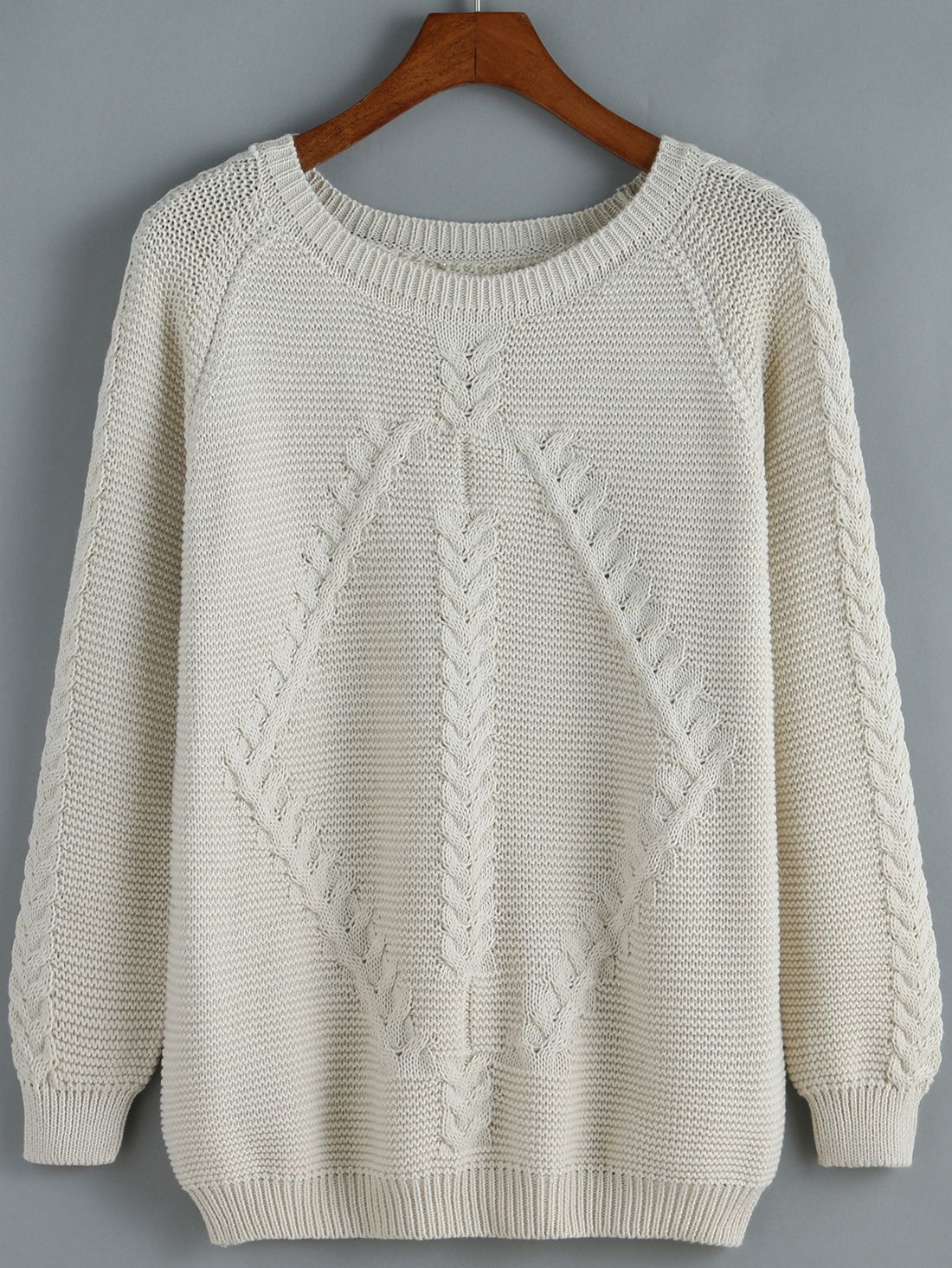 80641eb16d1aad Apricot Round Neck Cable Knit Loose Sweater