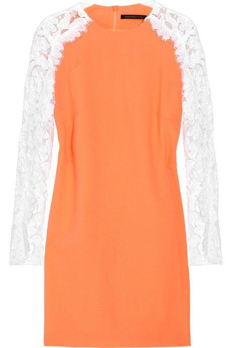 Christopher Kane Neon lace-sleeved wool-blend crepe dress    Rashida Jones would kill in this.
