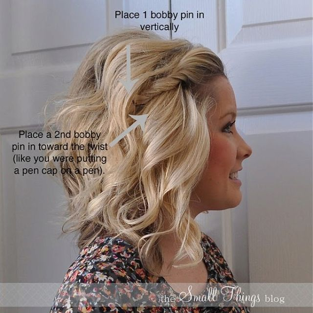 Idée coiffure torsade et sécurisez avec des petites