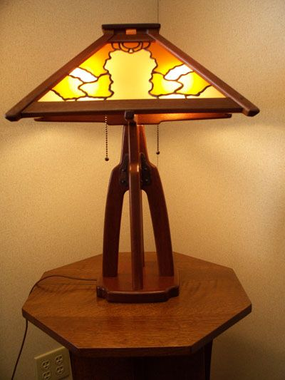 arts and crafts greene and greene style table l& of african mahogany with hand crafted art & arts and crafts greene and greene style table lamp of african ...