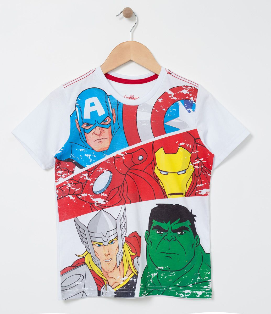0c067ae565f6f Camiseta infantil Manga curta Gola redonda Com estampa Marca  Avengers  Tecido  Meia malha COLEÇÃO VERÃO 2017 Veja outras opções de produtos  Avengers.