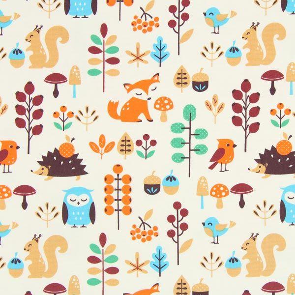 GOTS - luomupuuvilla Tula Kids - Retro Fox - kerma - Tula Kids - GOTS-Luomupuuvilla - Lastenkankaat eläinkuvioisia - Puuvillakangas eläinkuvio - kankaita.com