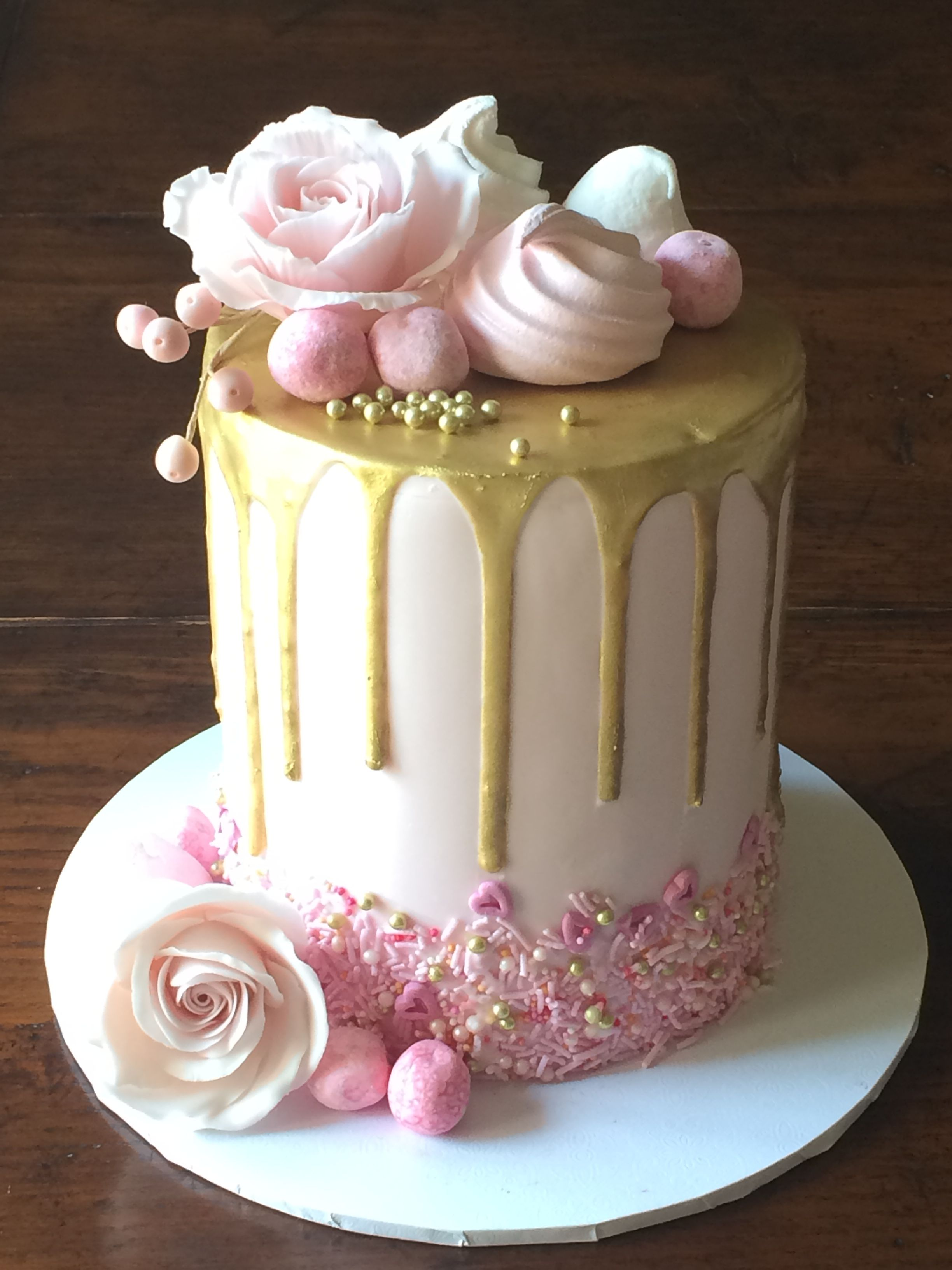 Pink And Gold Drip Cake With Sugar Roses