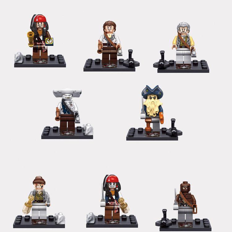 8pcs set Pirates of the Caribbean Mini Figures Building Blocks Bricks Toys