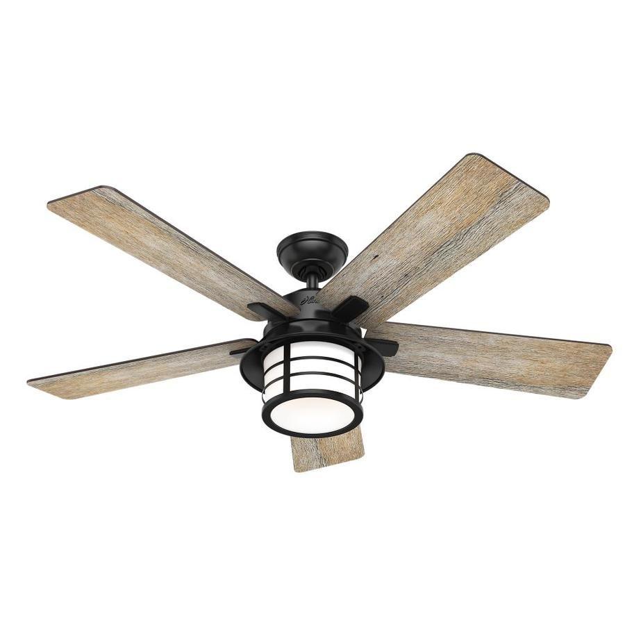 Hunter Lantern Bay 54 In Matte Black Led Ceiling Fan With Light Remote Control And Light Kit 5 Blade Lowes Com Outdoor Ceiling Fans Ceiling Fan With Light Fan Light