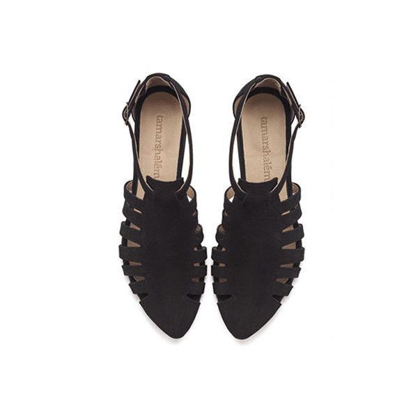 Alice, Black shoes, Flats, Leather Sandals (725 PLN) ❤ liked on Polyvore featuring shoes, sandals, flats, flats sandals, leather shoes, black sandals, kohl shoes and flat pumps