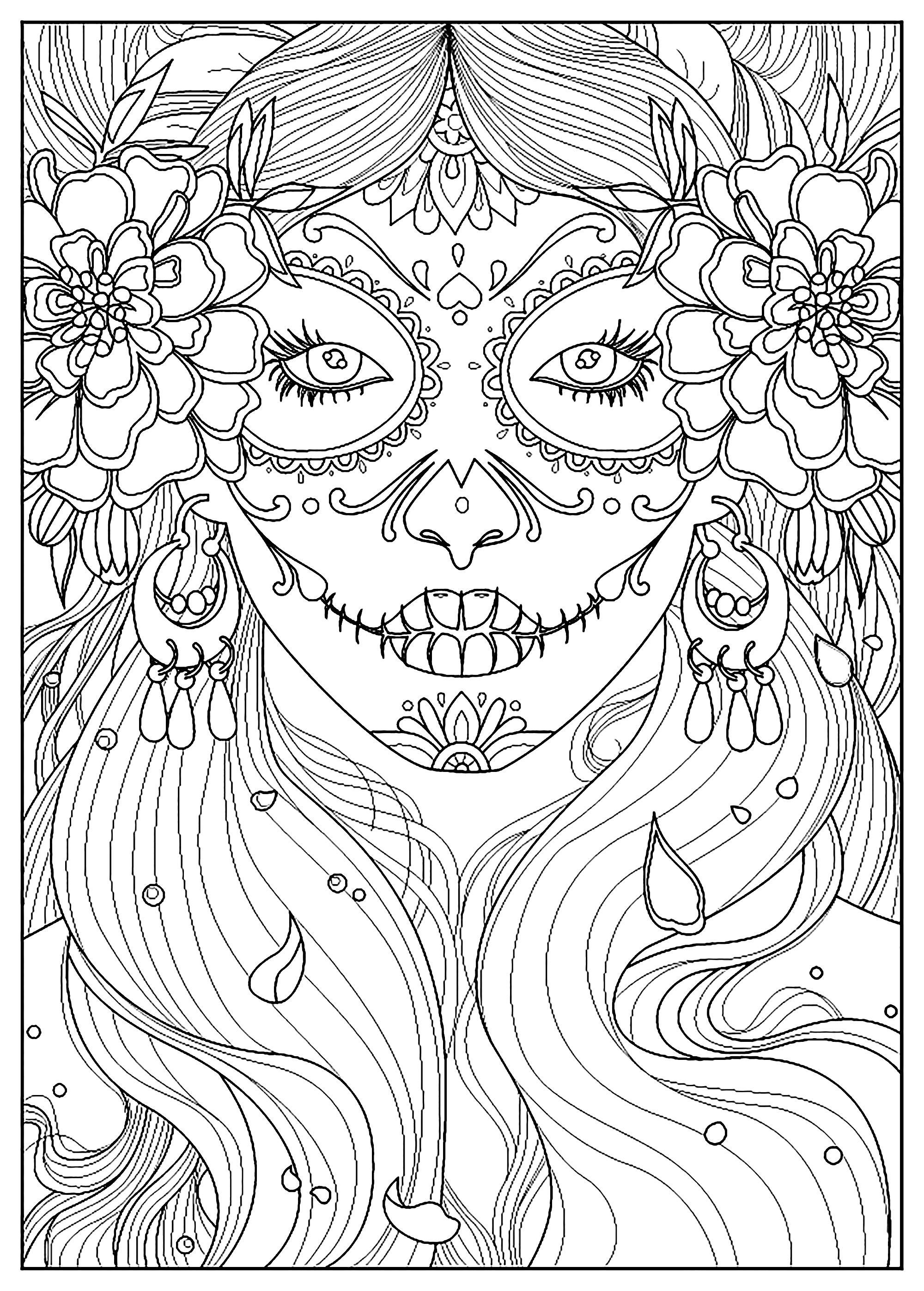 Day of the dead - Day of the dead woman. From the gallery : El Dia De Los Muertos. Artist : Juline. Keywords : Woman. Just Color : Discover all our printable Coloring Pages for Adults, to print or download for free ! #adultcoloringpages