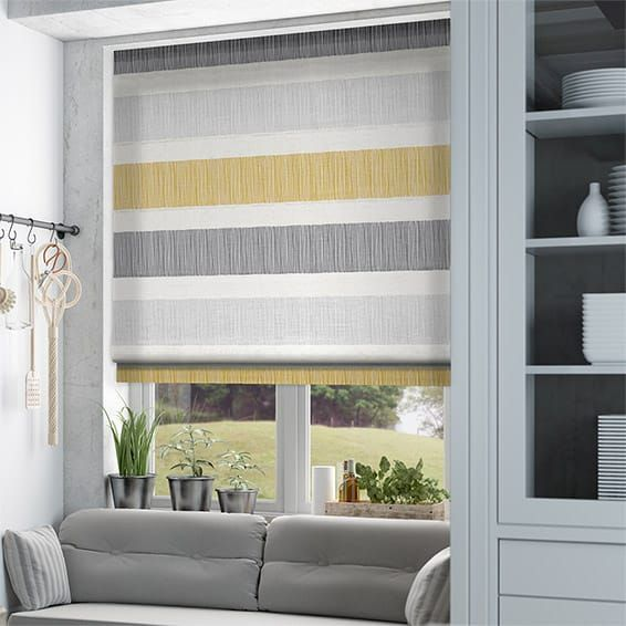 Cardigan Stripe Flax Grey Roman Blind Living Room Blinds