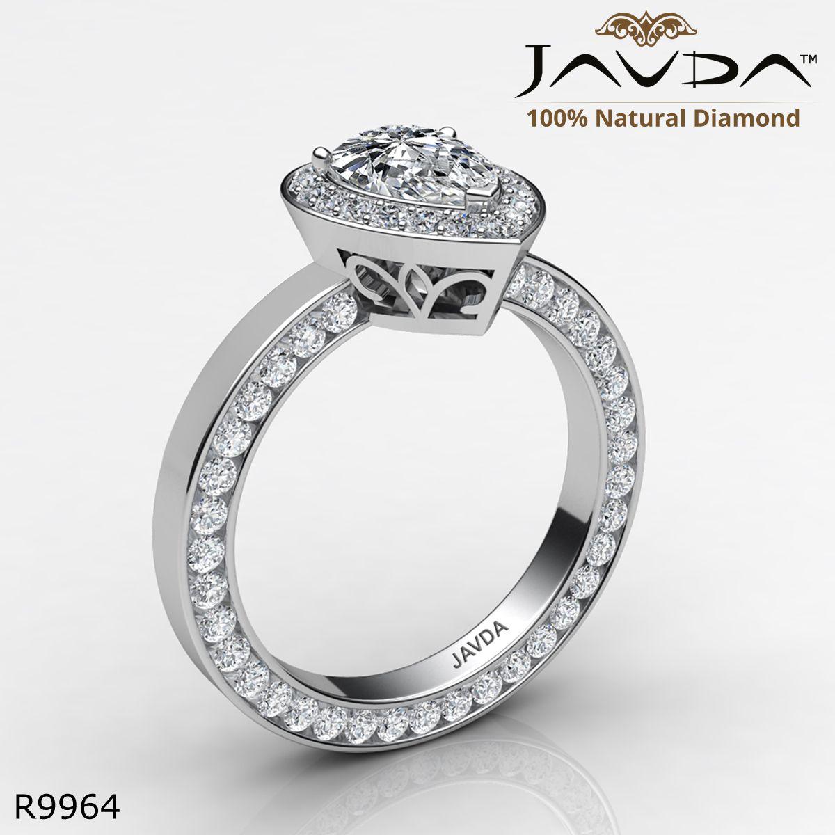 Eternity filigree halo pave pear diamond engagement ring k white
