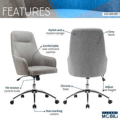 7d26ae2629e Comfy Height Adjustable Rolling Office Desk Chair- Gray- Techni Mobili