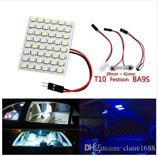 48 Smd Blue White Amber Panel Led Car T10 Ba9s Festoon Dome Interior Lamp W5w C5w T4w Bulbs Car Light Source Par Car Lights Automotive Led Lights Led Car Bulbs