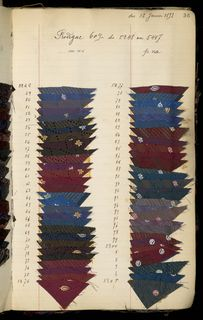 SAMPLE BOOK (FRANCE), 1892–98 Manufacturer's record book containing very small swatches arranged by manufacturer's name for the fabric (silk). There are 207 entries.