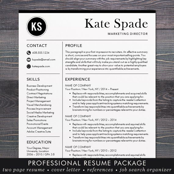 Resume / CV Template, Professional Resume Design for Word Mac or PC ...