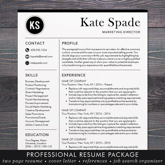SALE Resume / CV Template Professional Resume Design for Word   Work ...