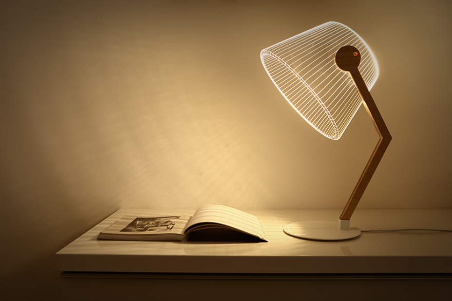 We Made Flat 2d Lamps That Create 3d Optical Illusions When Lit Up 3d Led Lamp Lamp Desk Lamp