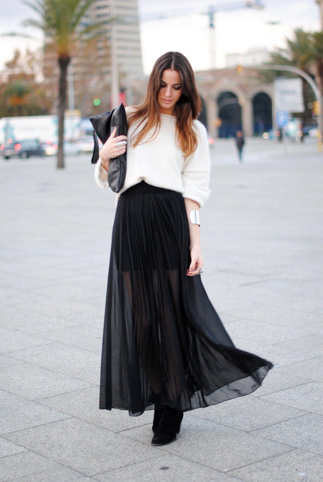 331176acbc Black Pleated skirt | My Little Shopping Bag | Fashion, Long skirt ...