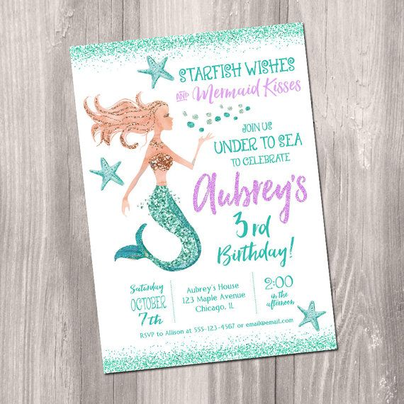 Mermaid Birthday Invitation Mermaid invitation by StyleswithCharm