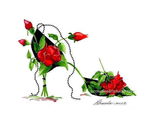 Rose Rouge Avec Noir Formelle Fleur Chaussure Renforcee Avec De