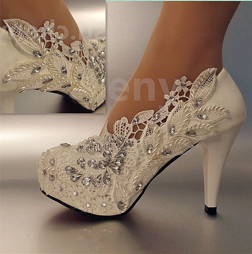 """Details about su.cheny 3"""" 4 """" heel white ivory lace pearls"""