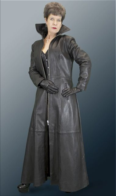 Ladies Long Black Soft Leather Flared Matrix Gothic Coat with ...