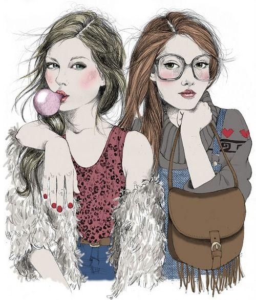 Love those glasses! art print girls glasses handbag
