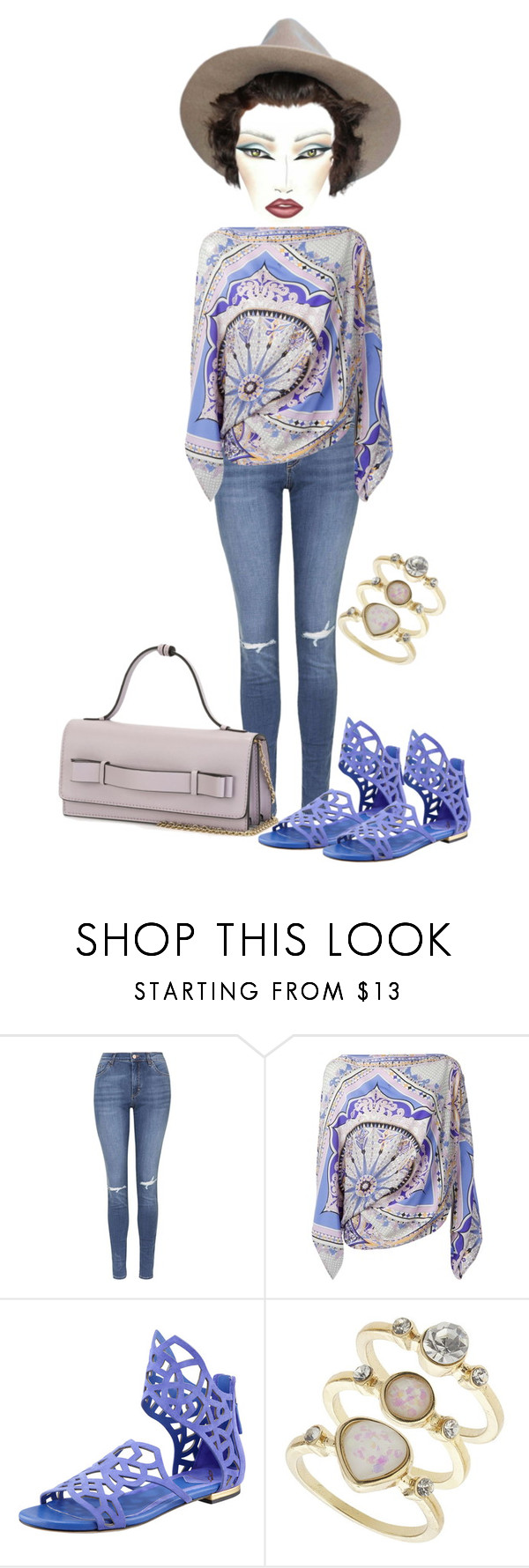 """""""Untitled #4433"""" by cristalabron ❤ liked on Polyvore featuring Topshop, Emilio Pucci, B Brian Atwood, Miss Selfridge and RED Valentino"""