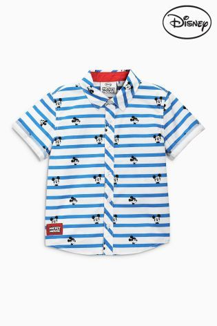 Buy White And Blue Short Sleeve Stripe Mickey Mouse™ Shirt (3mths-6yrs) online today at Next Direct: Brazil