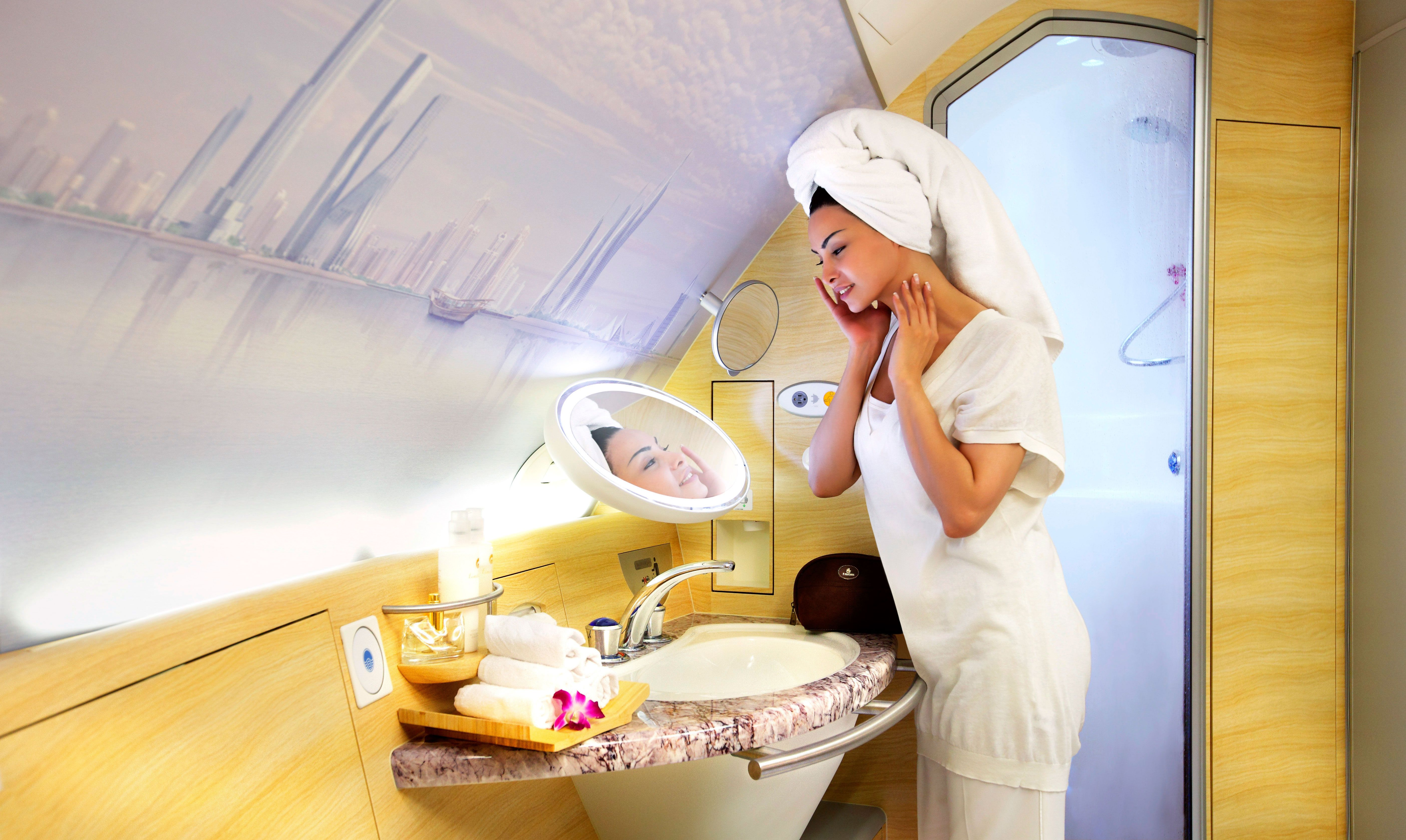 Emirates Airbus A380 first class restroom and shower ...
