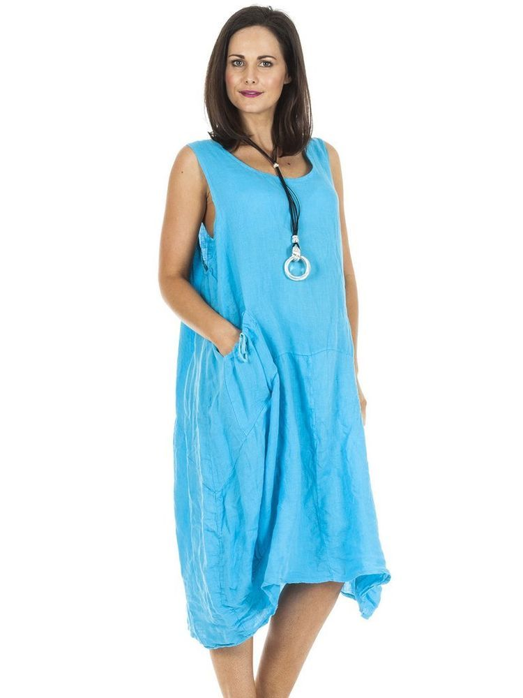 3e7bdf8ea4 Dress Lagenlook Linen Bow Pocket Aqua Blue Plus Size 18-22 Loose Fit Cruise