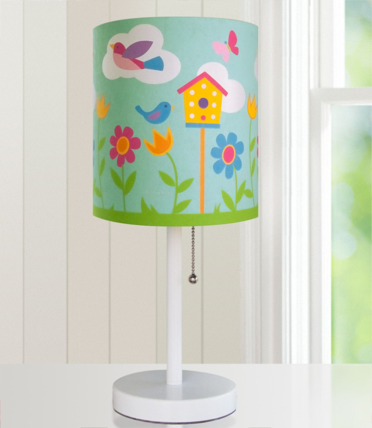 Olive Kids Birdie Cylinder Lamp - 631413 $50 Brighten up your child's room with an Olive Kids lamp! Our wooden based, steel stemmed lamps are topped with a printed fabric lamp shade. Each lamp coordinates wonderfully with our bedding and other room d