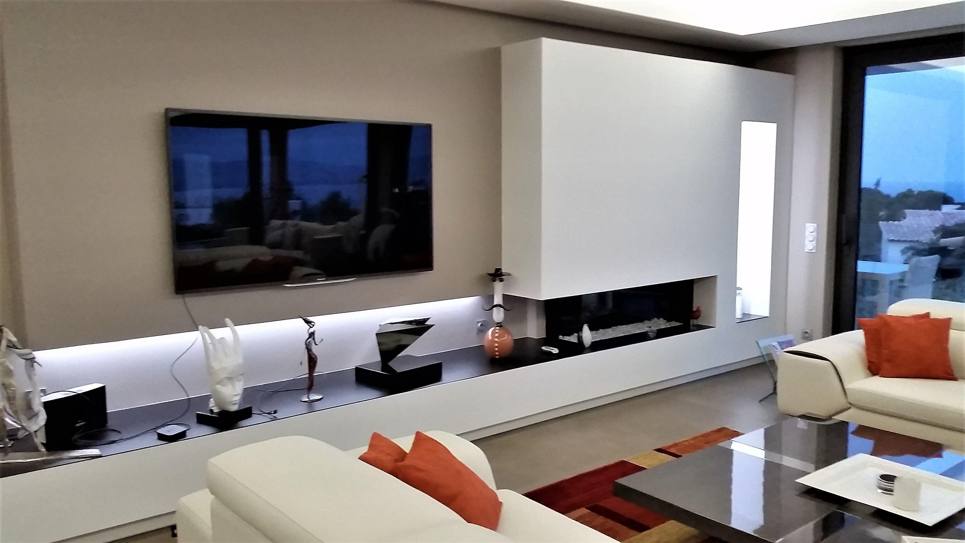 Chemin E Design Avec Foyer Ferm Http Atredesign Fr Atredesign  # Meuble Tv Avec Cheminee Ethanol