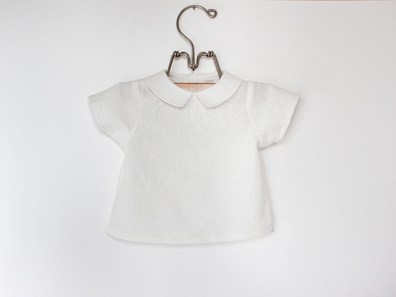 White Vintage Style Baby Boys Linen Dress Shirt Classic Peter Pan Collar Shirt Toddler Boys Button D Baby Boy Linen Linen Shirt Dress Wedding Outfit For Boys [ 2249 x 3000 Pixel ]