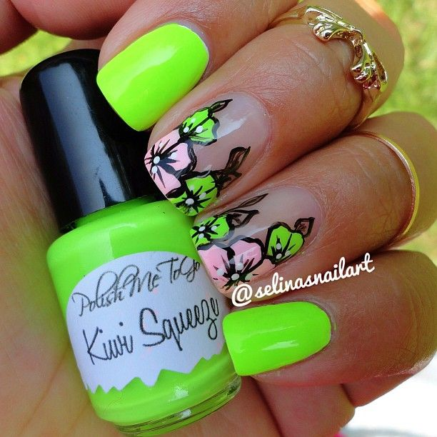Love that green color. | Nails n Toes. | Pinterest | Uñas flores ...