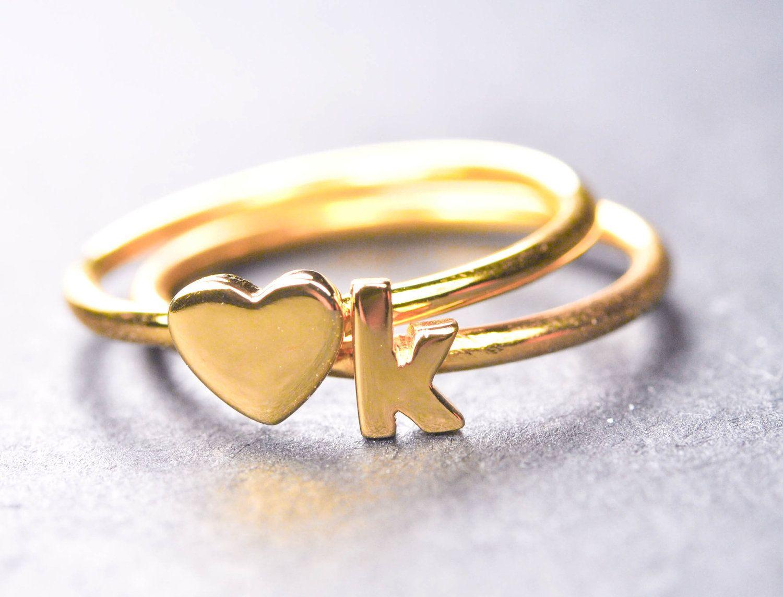 Custom bridesmide gift, initial ring, bridesmaid gift set, bridesmaid personalized gift, wedding favor bridesmaid gift, wedding gift, heart.