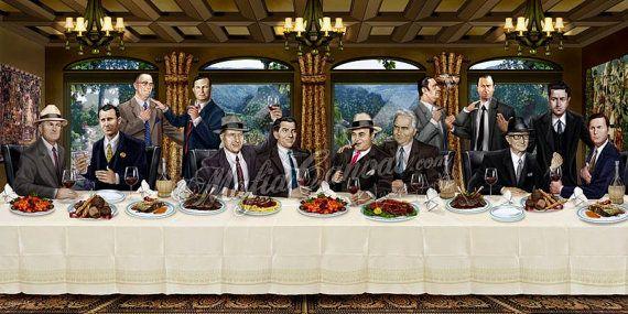 The Sopranos Last Supper Poster Mafia Family Painting Art Print