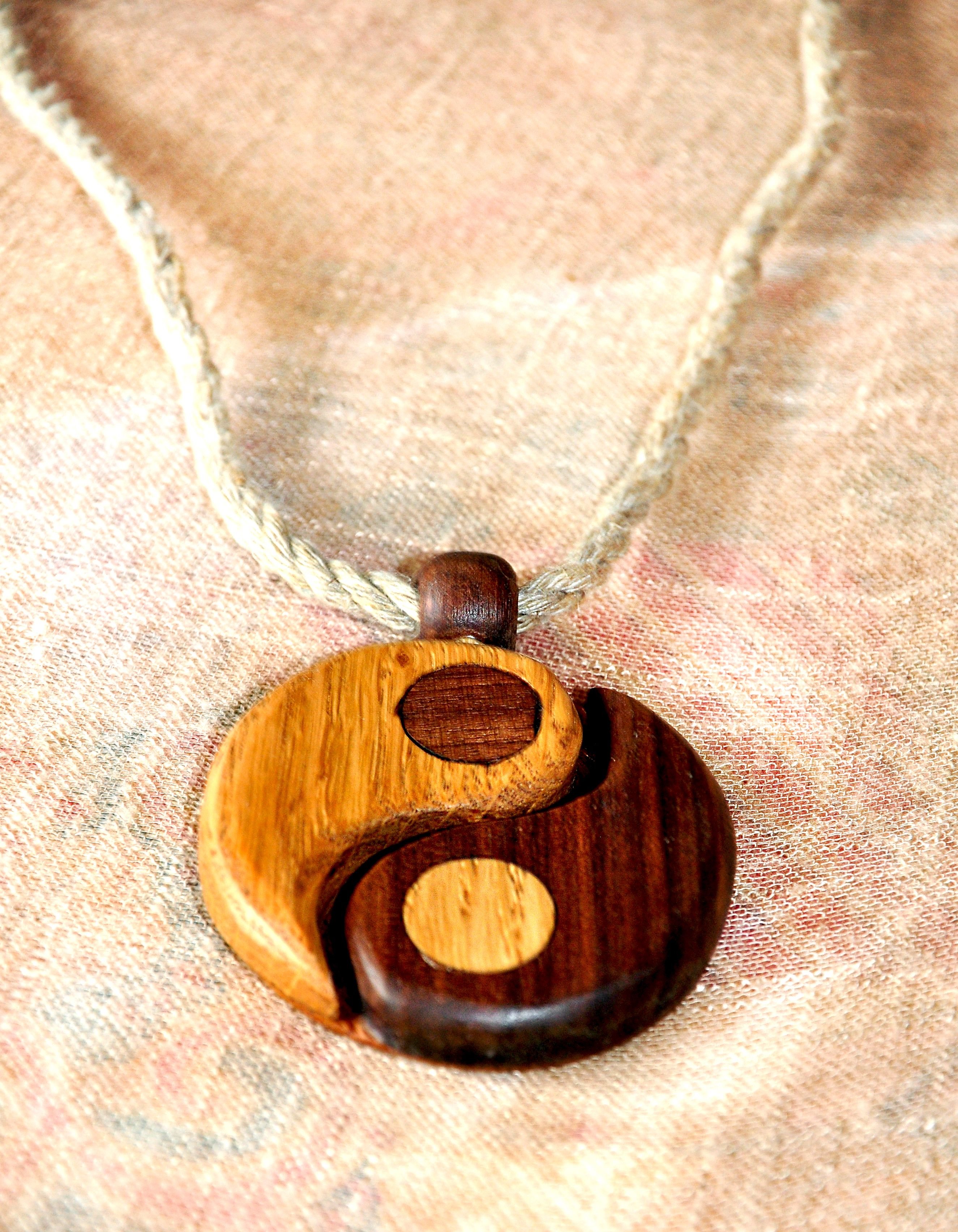 Yin u Yang Wooden pendant Wood jewlery unique necklace