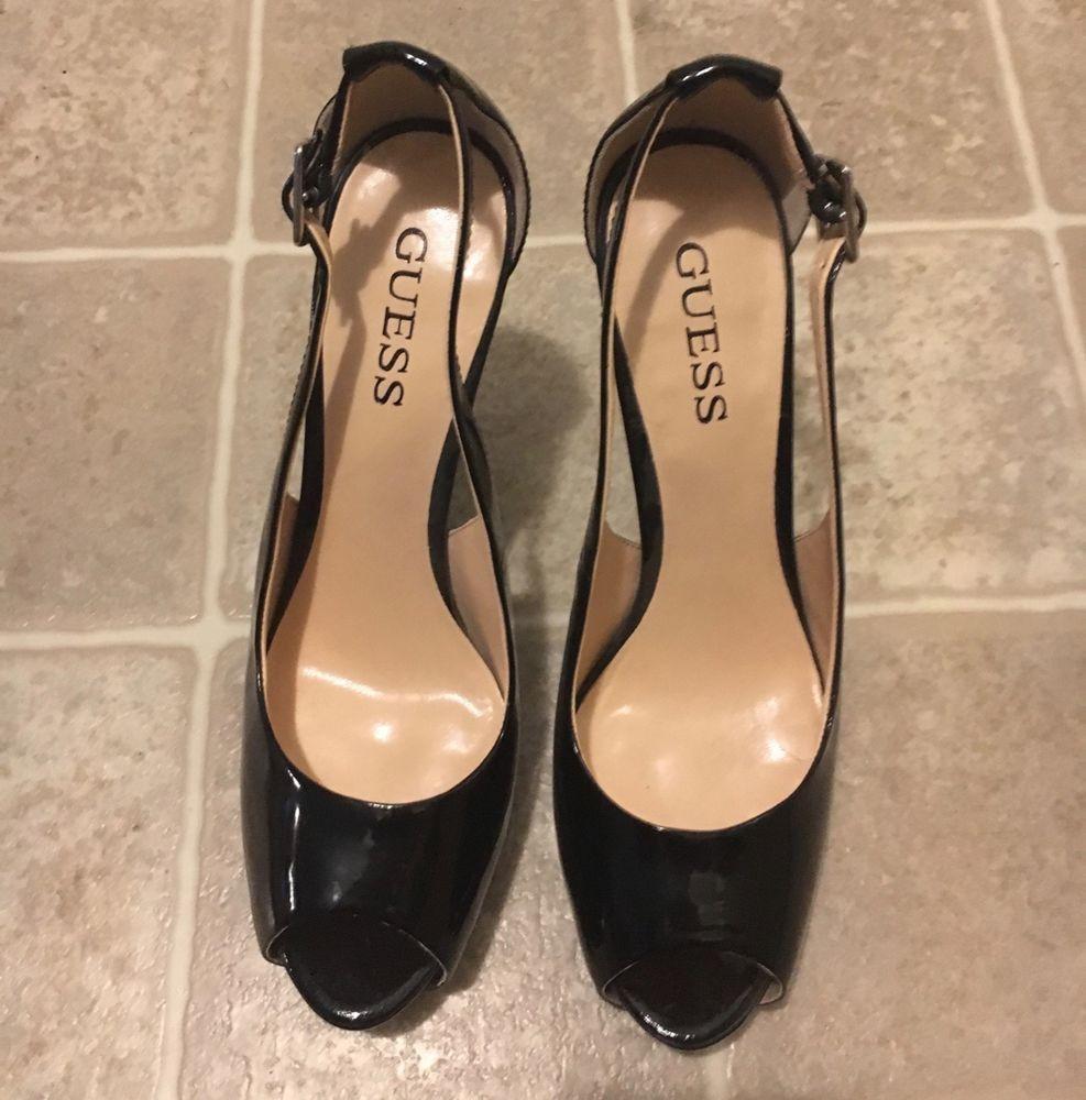 536b562eef3 Used Guess Heels Size 8.5 Black Peep-Toe  fashion  clothing  shoes ...