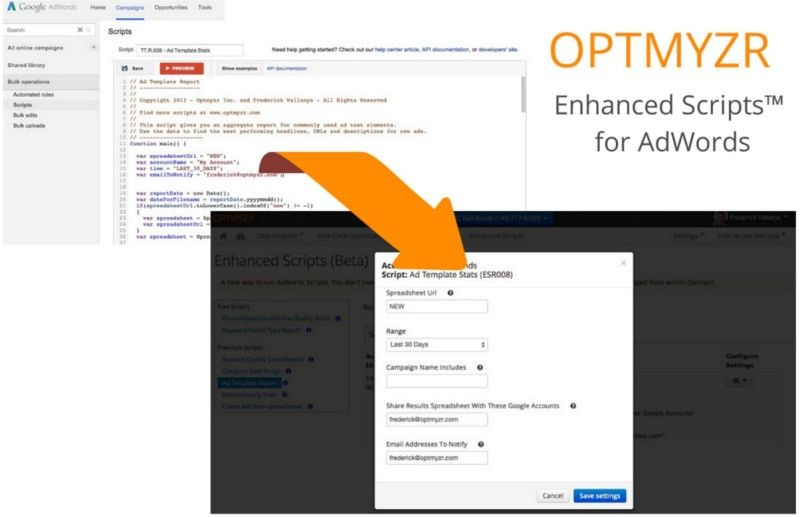 Optmyzr\u0027s New Enhanced Scripts Tool Takes The Programming Out Of - roi spreadsheet