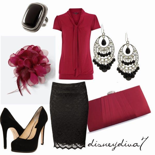 Work Outfits | Maroon Chic  Short Sleeve blouse, Ribbon Lace skirt, Lulu clutch, Chinese Laundry shoes, H&M Ring  by disneydiva7