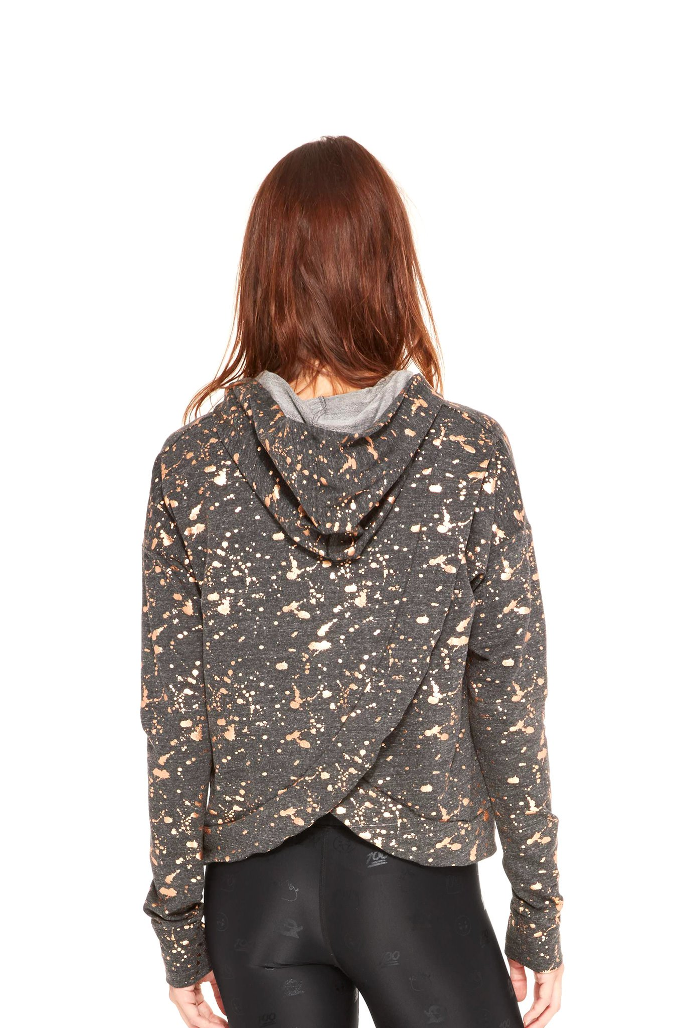 89b455d05 Women's Rose Gold Splatter Foil Cross Back Hoodie   Terez   Trend ...
