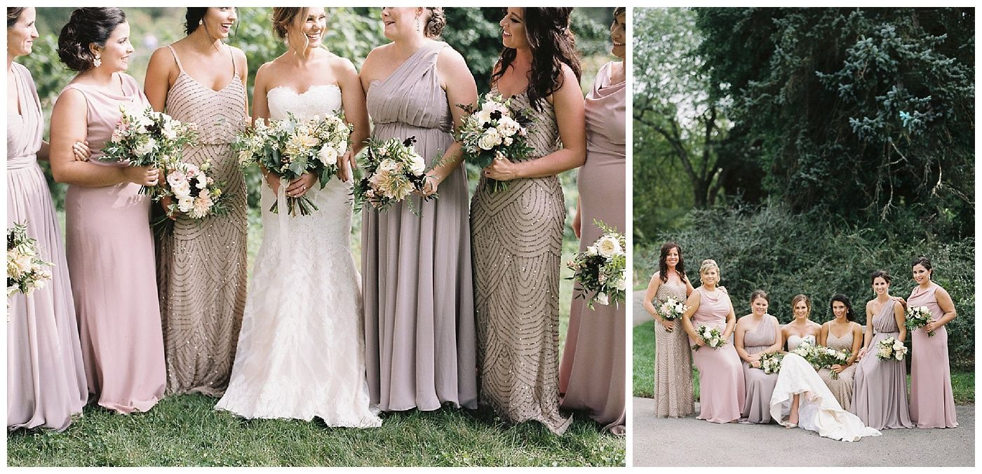 The bride and her bridesmaids in neutral dresses for an