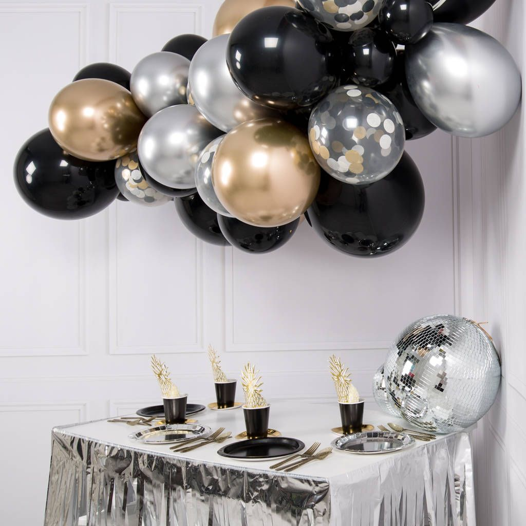 Black Silver And Gold Black And Gold Balloons Silver Party