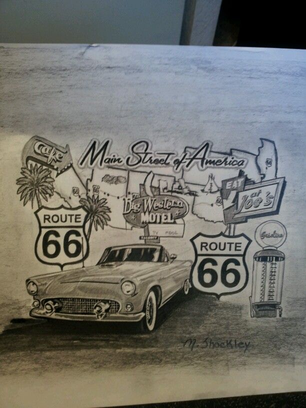Route 66 drawing for sale | MLS Sketches | Pinterest | Route 66 ...