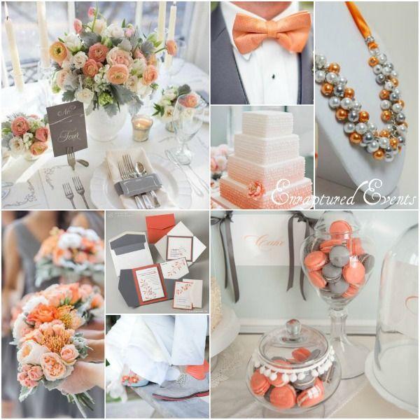 Light Orange And Gray Wedding Inspiration Orange Wedding Themes